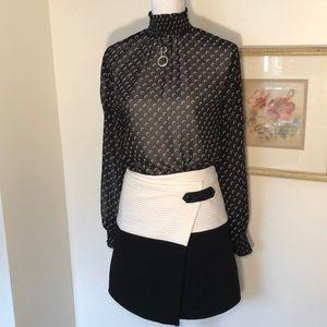 Alice & Olivia B&W Lennon Crossover Angled Skirt 4